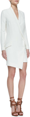 Haute Hippie Cowl-Back Long-Sleeve Tuxedo Dress