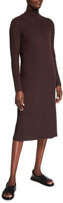 Eileen Fisher Petite Straight Scrunch-Neck Long-Sleeve Ribbed Dress