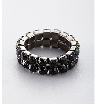 Ring Black BTJeweled BT-Jeweled Two Row Crystal Stretch Ring - Black