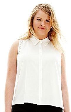 L'amour Nanette Lepore Sleeveless Button-Front Shirt-Plus