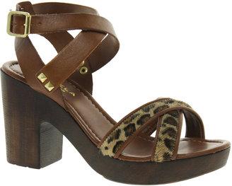 Carvela Krave Leather Wooden Heeled Sandals