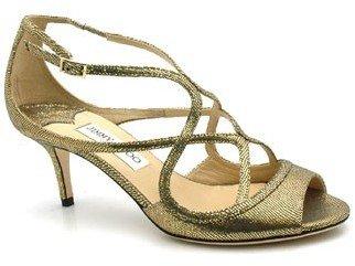 "Jimmy Choo Dinton"" Gold Glitter Sandals"
