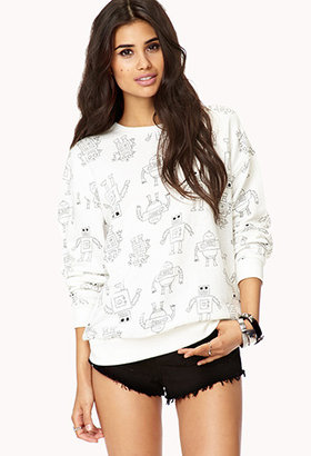 Forever 21 Quirky Robot Sweatshirt