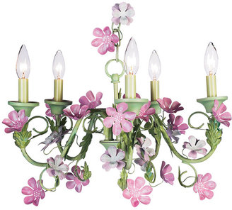 Flora Green and Pink Chandelier
