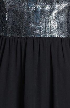 GUESS Embellished Chiffon Fit & Flare Dress