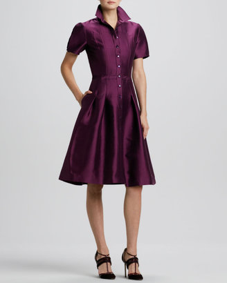 Carolina Herrera Full-Skirt Satin Shirtdress