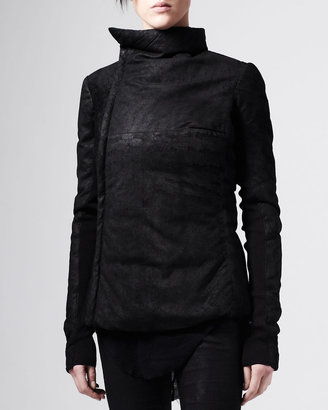 Rick Owens Asymmetric Blistered Leather Jacket