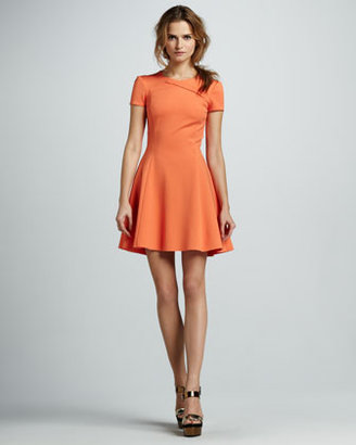Halston Cross-Neck Short-Sleeve Dress