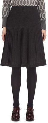 Brooks Brothers Wool Gauze Pleated Skirt