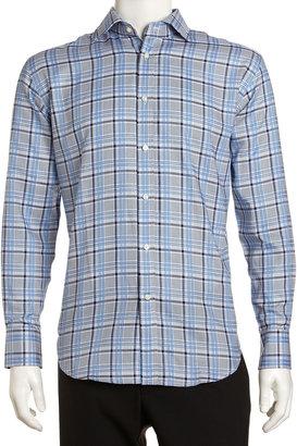 Neiman Marcus Regular-Finish Classic-Fit Large-Plaid Sport Shirt, Blue