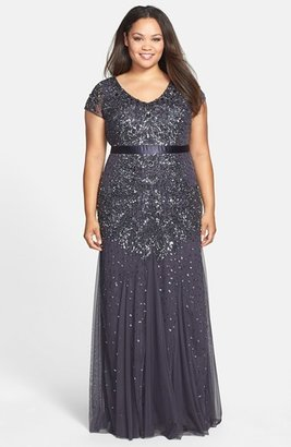 Plus Size Women's Adrianna Papell Beaded V-Neck Gown $318 thestylecure.com