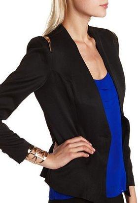Charlotte Russe Metallic Trim Woven Blazer