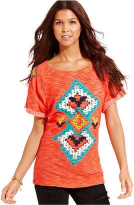 Eyeshadow Juniors Top, Short Sleeve Tribal-Print Sweatshirt