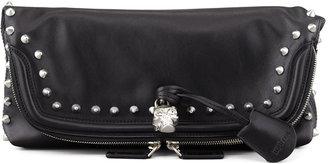 Alexander McQueen Studded Skull Padlock Fold-Over Clutch Bag, Black/Nickel