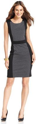 NY Collection Dress, Sleeveless Colorblocked Ponte Sheath