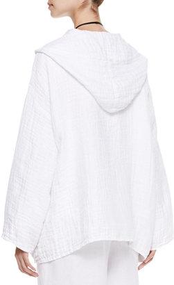 eskandar A-Line Open Hooded Coat, White