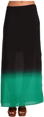 Vince Camuto Buenos Aires Ombre Panel Knit Underlay Maxi Skirt (Jungle) - Apparel