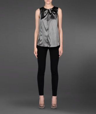 Emporio Armani Stretch Silk Top With Ruffle