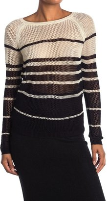 Vertigo Striped Open Knit Sweater