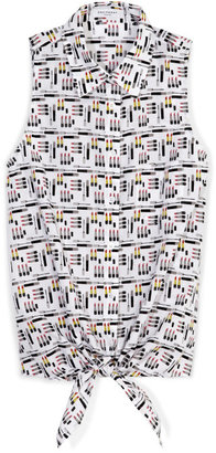 Equipment Mini Makeup Printed Bright White Multi Mina Tie Front