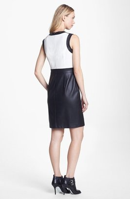 Vince Camuto Colorblock Perforated Faux Leather Sheath Dress