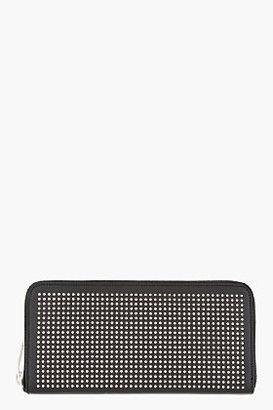 Saint Laurent Black Studded Leather Zip Around Wallet