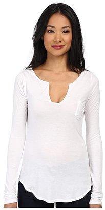 LAmade L/S Open Henley Tee (Black) Women's Long Sleeve Pullover