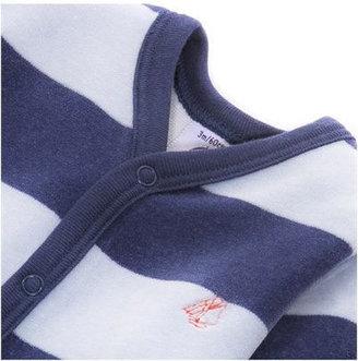 Petit Bateau Navy & Baby Blue Stripe Velour Crawler