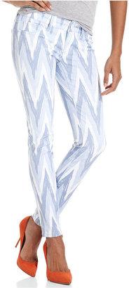 7 For All Mankind Seven7 Petite Jeans, Skinny Printed, Blue Chevron Print Stripe