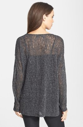 Vince Camuto Two by High/Low Hem Metallic Pointelle Tee