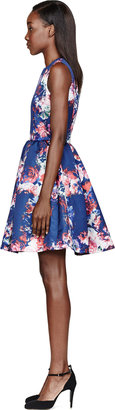 MSGM Blue Satin Floral Print Duchesse Dress