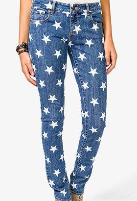 Forever 21 Star Print Skinny Jeans