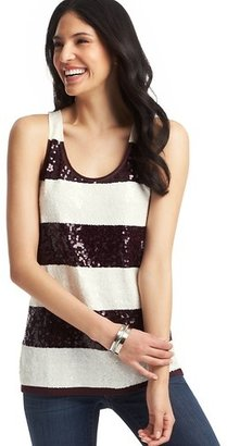 LOFT Rugby Stripe Sequin Shell