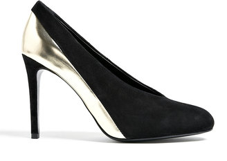 See by Chloe Shoes Metallic Pewter And Suede Khai Court Shoes