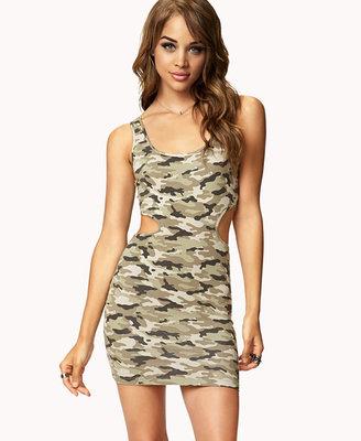 Forever 21 Cutout Camo Bodycon Dress