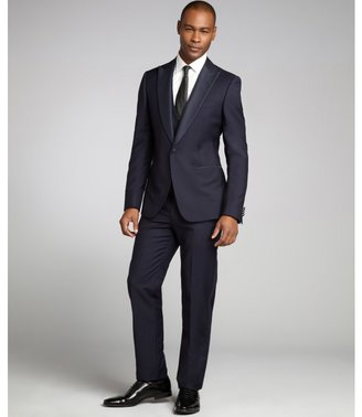Z Zegna dark blue wool blend three piece two button suit with flat front tux pants