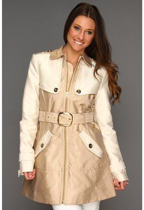 Juicy Couture Cotton Trench Sateen Coat (Soft Khaki) - Apparel