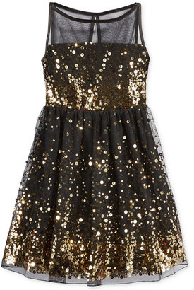 Crystal Doll Girls' Sequin Illusion Dress $58 thestylecure.com