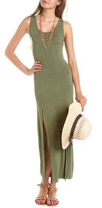 Charlotte Russe Lace Back Double Slit Maxi Dress