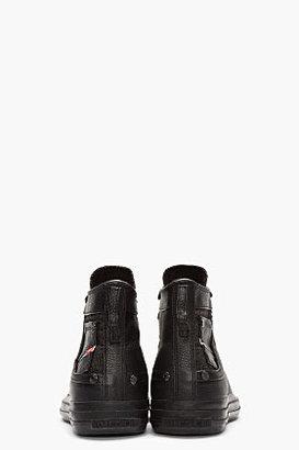 Diesel Black LEather Exposure High-Top Sneakers