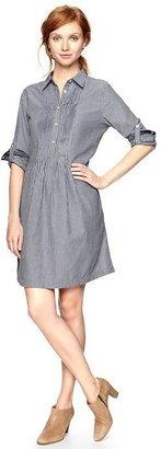 Gap Striped chambray pintuck dress