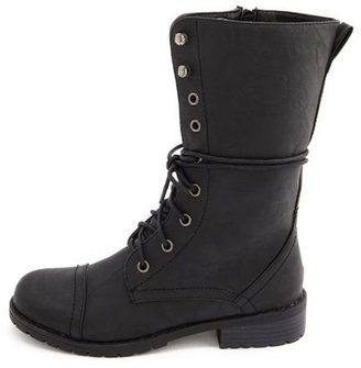 Charlotte Russe Lace-Up PU Combat Boot
