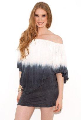 Elan International Elan Off-The-Shoulder Ruffle Dress in Grey Ombre