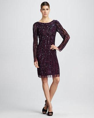 Aidan Mattox Long-Sleeve Beaded Dress
