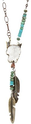 Gypsy SOULE Double Feather Necklace (Silver/Turquoise) - Jewelry