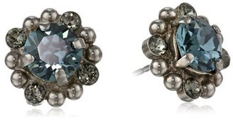 "Sorrelli Pewter"" Crystal and Beaded Silver-Tone Stud Earrings"
