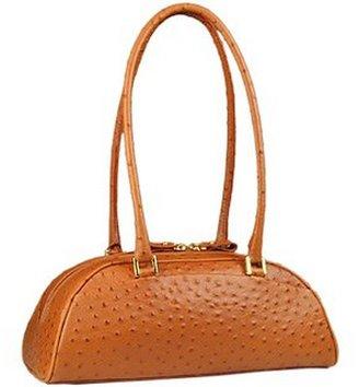 Fontanelli Tan Stamped Italian Leather Bag