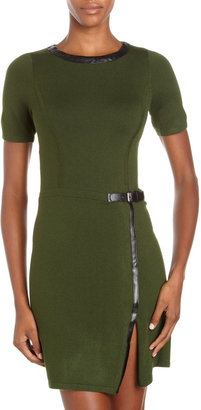 Design History Leather-Trim Short-Sleeve Sweaterdress, Green
