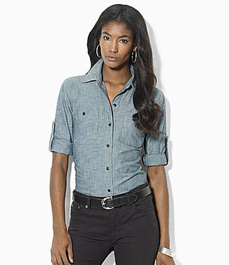 Lauren Ralph Lauren Chambray Roll-Sleeve Shirt