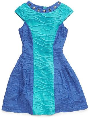 Sequin Hearts Girls Dress, Girls Textured Color-Blocked Dress